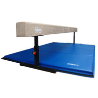 8ft Tan Adjustable Balance Beam & 6ft Blue Mat Gymnastics | Nimble Sports
