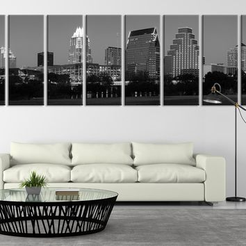 Extra Large Night in Austin, Texas Canvas Print, Extra Large Austin City Skyline Wall Art Print, Texas Canvas Print