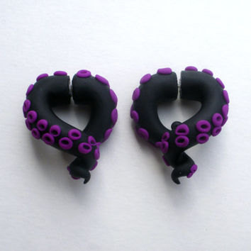 Morticia Tentacle Earring Fake Gauge -Addams Family - Black - Purple -Octopus