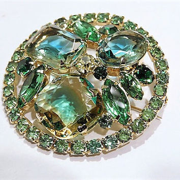 Vintage Juliana DeLizza Elster D & E Rhinestone Brooch Verified D E Mid Century 1960s Hollywood Green Blue Yellow Givre Art Glass