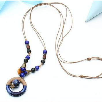 Bohemian Rope Chain Beads Necklaces & Pendant
