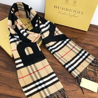 Burberry selling a couple's plaid logo jacquard mink cashmere scarf