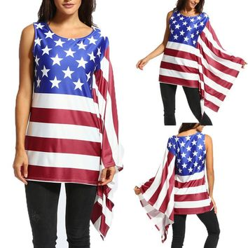 American Flag Women's Tank Top With One Long Ruffles Sleeve