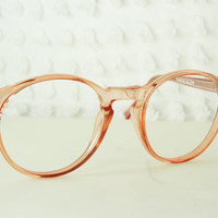 80s Glasses 1980's Round Eyeglasses Peach Pink Translucent Circle Keyhole Bridge NOS 52/23 or 55/23 Optical Frame Unisex