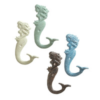 Mermaid Cast Iron Wall Hooks - Set of 4 - Assorted Colors