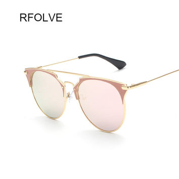 RFOLVE Newest Fashion Women Brand Designer Metal Frames Reflective Women Sunglasses Mirror lenses gafas de sol RF8846 Classic