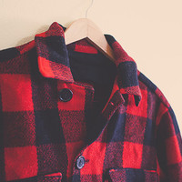 Vintage Buffalo Plaid Wool  Cropped Jacket Hipster Chic Preppy Red  and black  1950's 50's Lumberjack Retro Logger Chic Size Unisex Large