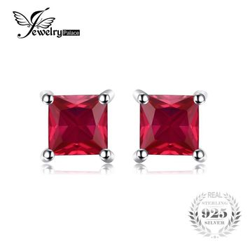 JewelryPalace Square 0.8ct Created Red Ruby 925 Sterling Silver Stud Earrings For Women Classic Fashion Jewelry 2016 Charms Gift