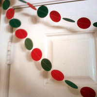 Christmas Paper Circle Garland Red Green Paper  Garland 10 Feet Long Card Stock Party Decorations Wedding Birthday Holiday Celebration
