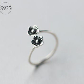 Retro 925 Sterling Silver flower ring,adjustable double flower ring, a perfect gift