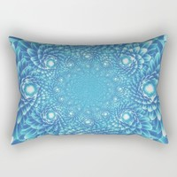 Fresh Modern Green Warp Cactus Pattern Fractal Art! Rectangular Pillow by Jeanette Rietz