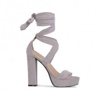 Suede Ankle Wrap Heels Grey