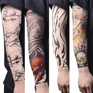 Men Arm Warmer Stockings Elastic Tattoo Sleeves Nylon Temporary Tattoo Sleeves Sport Skins Sun Protective Seamless Fake Tattoo