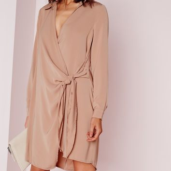 Missguided - Crepe Wrap Shirt Dress Nude