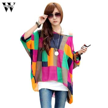 Womail 2017 Women Prints Batwing Sleeve Chiffon O-Neck Loose long Blouse shirts Tops summer best selling