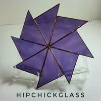 stained glass suncatcher, purple waterglass pinwheel suncatcher