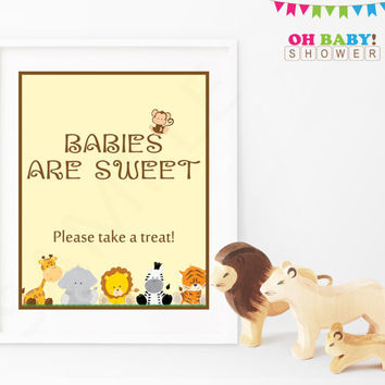 Safari Baby Shower Sign. Babies are Sweet Please Take a Treat. Jungle Baby Shower Decor. Printable Instant Download. 8x10 Neutral. BS0001-N
