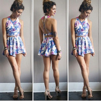 A Floral Dream Two Piece Halter Set