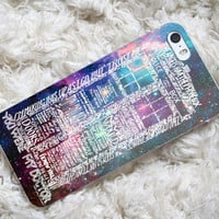 Word Art Tardis Doctor Who in Galaxy design for iPhone 4/4s/5/5s/5c, Samsung Galaxy S3/S4 Case