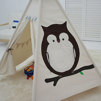 Owl children teepee tent, baby play tent