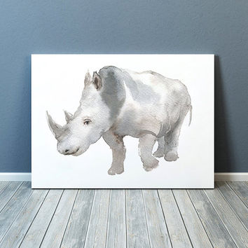 Rhino print Watercolor animal art Nursery poster ACW1