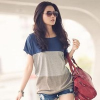 YESSTYLE: PUFII- Color Block T-Shirt (Blue - One Size) - Free International Shipping on orders over $150