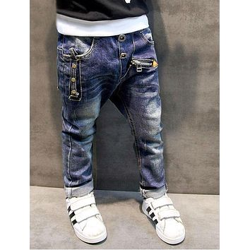 Boys pants jeans Fashion Boys Jeans for Spring Fall Children's Denim Trousers Kids Dark Blue Designed Pants