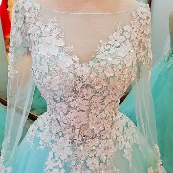 Vestido de Noiva Manga Longa Mint Green Vintage Wedding Dress 3D Flowers Long Sleeve Wedding Gowns Plus Size Cheap Bride Dresses