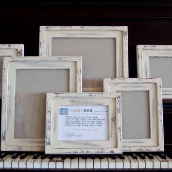 Frame Collection 6 Picture Frames total...2) 8x10's...2) 5x7's...and 2)5x5's  STACKED pine wood distressed picture frames...IVORY (SAND)