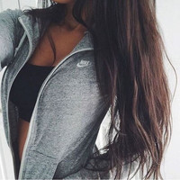 "Women ""NIKE"" Casual Hooded Zip Knitwear Cardigan Sweatshirt Jacket Coat Grey"