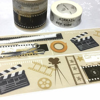movie film strip photo film strip filmstrip washi tape 7M x 4cm film tool clapper board film clapboard movie theme decor sticker tape