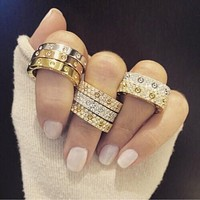 "Free Shipping: ""Cartier"" Ring Women Men Full of Diamonds Ring Stars Couple Ring Accessories"
