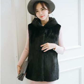 2018 Xulanbaby Winter Women's Coat Faux Mink Fur Vest Patchwork Hooded Faux Fur Vest Plus Size Preppy Fur Coat Furry Coat AW165