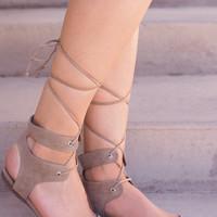 Babette Lace Up Flats - Beige