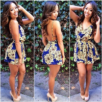 Blue Floral Print V-neck Sleeveless Backless Romper