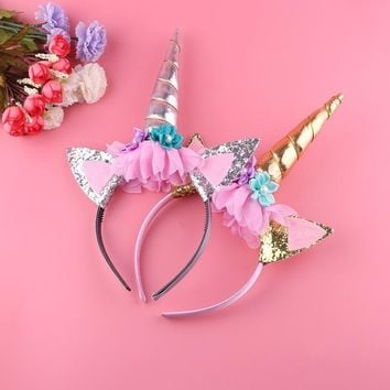 1PC Gold/Silver Unicorn Headbands Horn with Flower Hair Hoop for Girls Birthday Party DIY Crafts Hair Decor Accessories Licorne