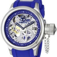 Invicta Men's 1089 Russian Diver Skeleton Watch With Blue Polyurethane Band