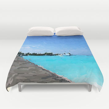 Ocean Walk Duvet Cover by Artist CL