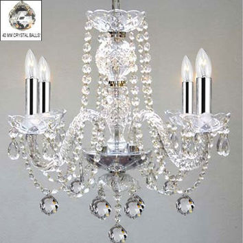 """Murano Venetian Style All Empress Crystal (Tm) Chandelier! With Chrome Sleeves! H17"""" W17""""! Swag Plug In-Chandelier W/ 14' Feet Of Hanging Chain And Wire! - G46-B15/B43/B6/275/4"""