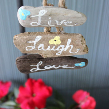 Live Laugh Love , Hand Painted Mini Driftwood Sign / ornament , Beach House Decor , Coastal Decoration