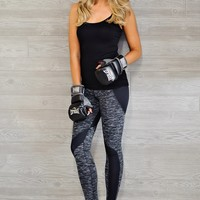 *  Peyton Athletic Leggings : Grey/White