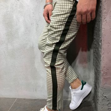 Checkered Ankle Pants with Side Stripes - Khaki
