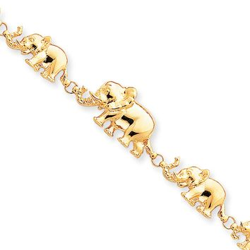 14k Yellow Gold Graduated Elephant Bracelet - 7 Inch