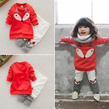 Baby Girl Fox Sweatshirt & Leggings Outfit