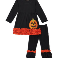 Black & Orange Ruffled Jack o Lantern Halloween Pant & Top Set