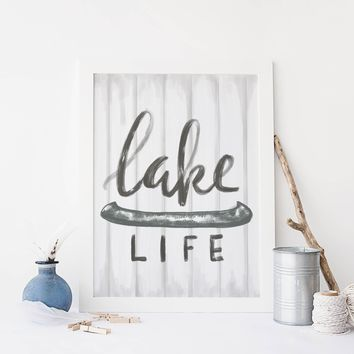 Lake Life Rustic Farmhouse Sign Art Print