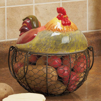 Rooster Farm Friend Wire Basket Organizer Country Kitchen Holds Eggs & Veggies
