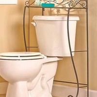 Jeweled Flower Accent Bathroom Over The Toilet Storage Table Shelf Organizer