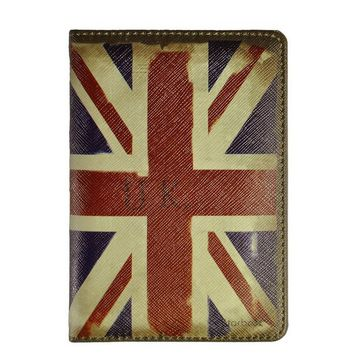 Unisex Vintage Leather Travel Union Jack Passport Cover Holder