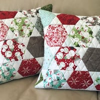 Set of Two Quilted Throw Pillows - 16 inch - Blitzen Hexagon Pillows, Snowmen Pillows, Quiltsy Handmade
